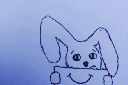 a drawing of a cartoon rabbit. he is holding up a piece of card with a smile drawn on it to hide his own unsmiling mouth
