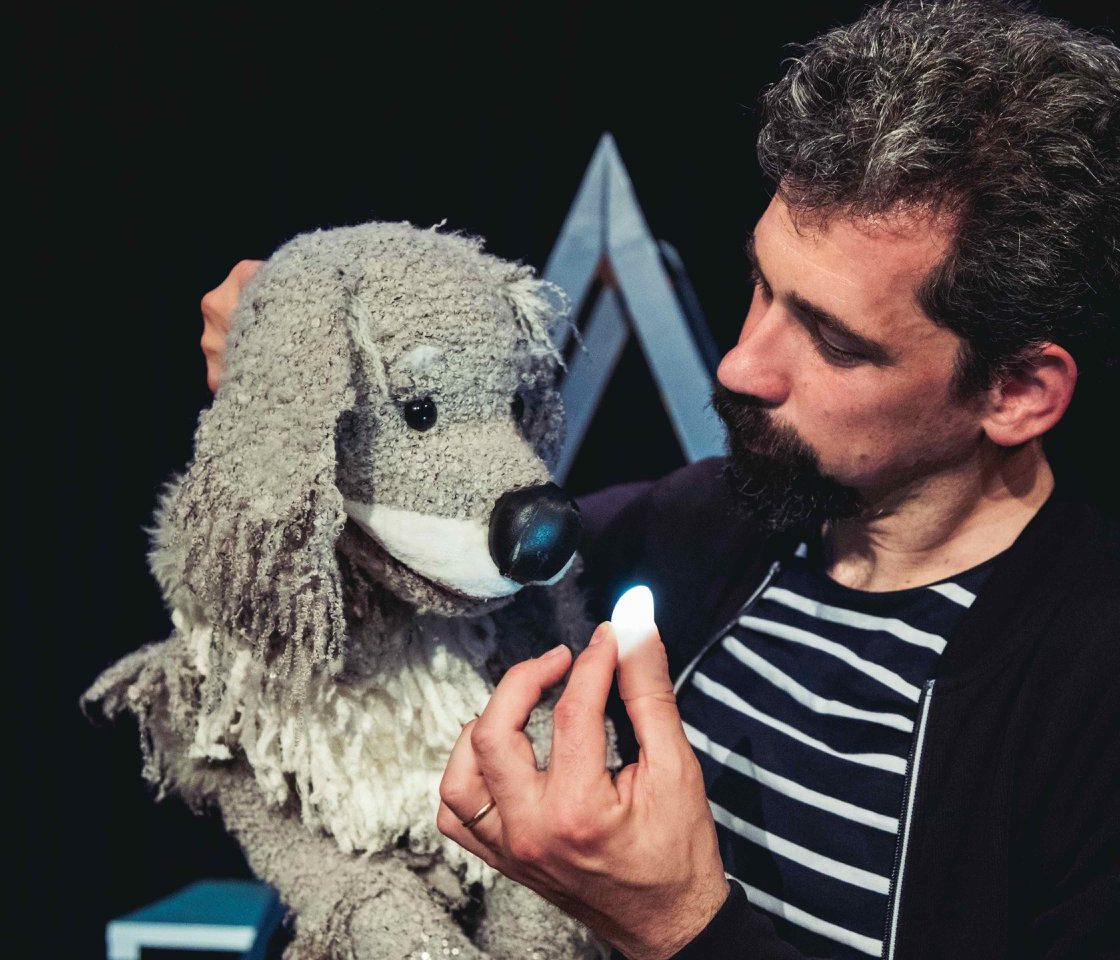 Twinkle Twinkle - a performer puppets a grey dog puppet who looks intently at the glowing light held on the performer's thumb