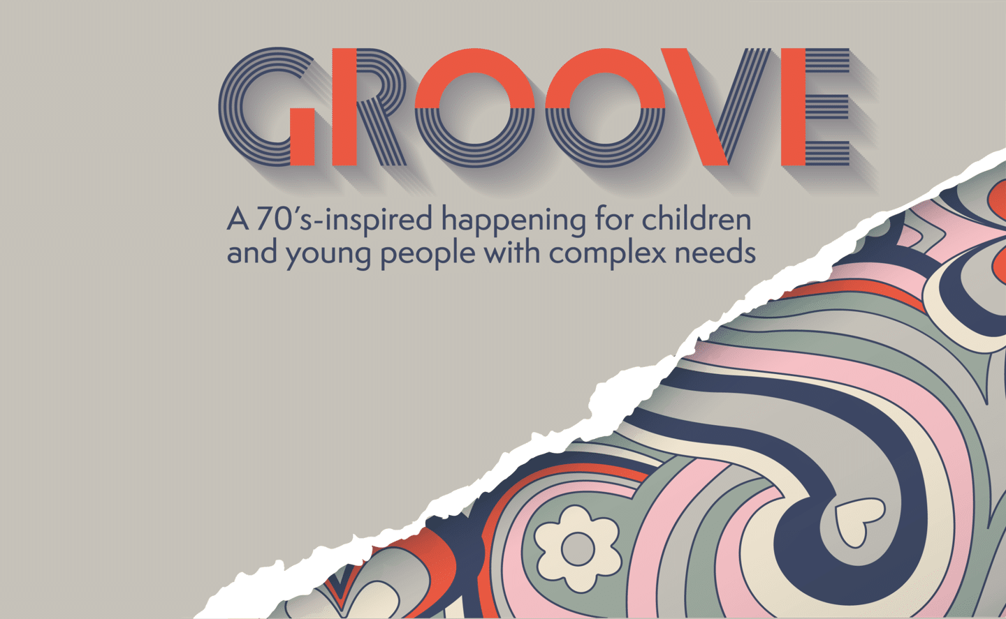 the word GROOVE on a silver background that has a rip to reveal 70's style psychedelic patterns