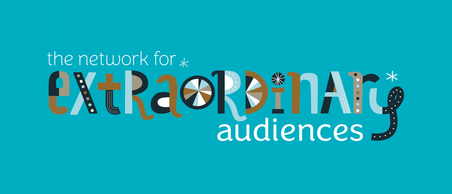 Network For Extraordinary Audiences Logo - each letter in the word 'extraordinary' looks different